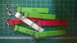 Personalised key tags printed by students at the STEM Fair